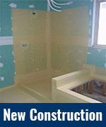 New Construction bathroom waterproofing membrane