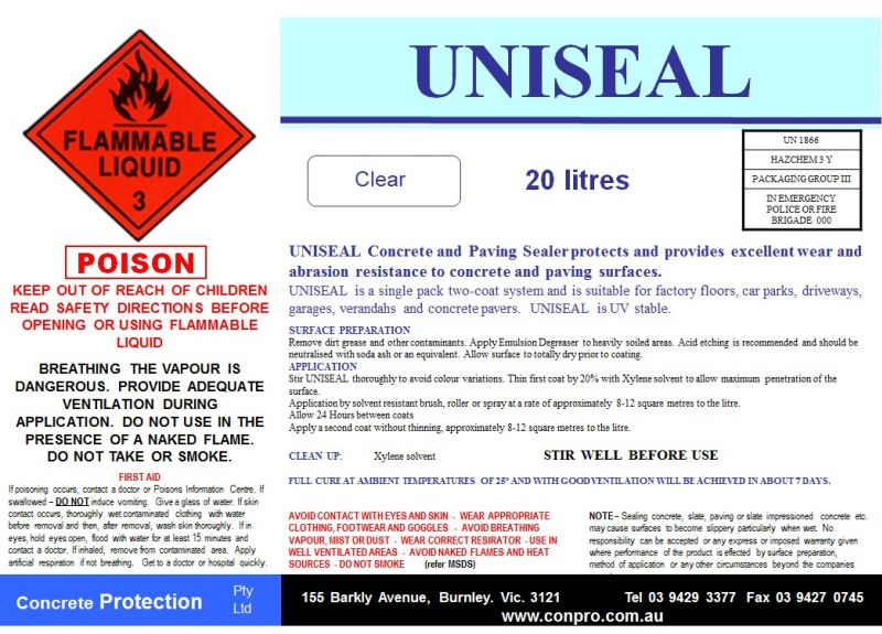 Uniseal - Superior UV Stable Solvent Based Acrylic Concrete Sealer